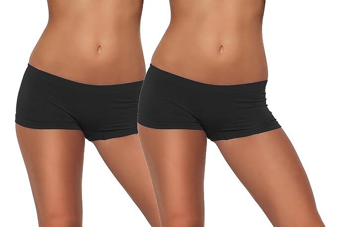 Corto ajustable elástico ajustado Yoga Running Bike Ejercicio Pantalones cortos Ropa interior Negro 2 Pack Black
