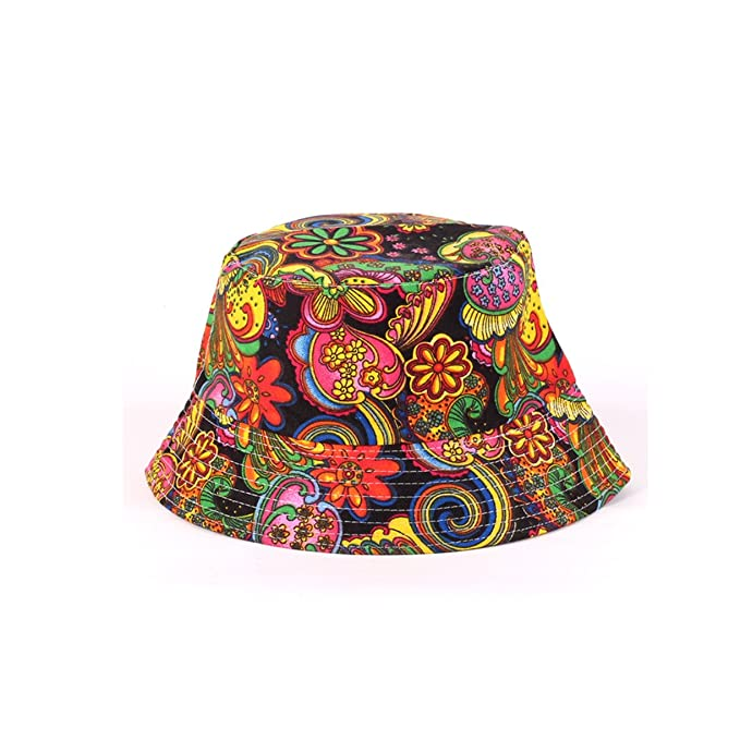 Hippie Hats,  70s Hats Eohak Bucket Hat Black Floral Printed | Summer Women Men Fisherman Cap Packable Bucket Hat $8.42 AT vintagedancer.com