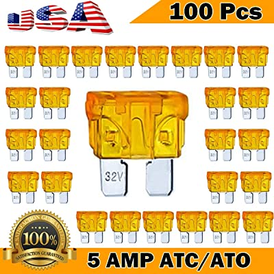 Kodobo 100 Pack Auto Fuses 5 AMP ATC/ATO Standard Regular Fuse Blade 5A Car Truck Boat Marine RV - 100Pack: Automotive