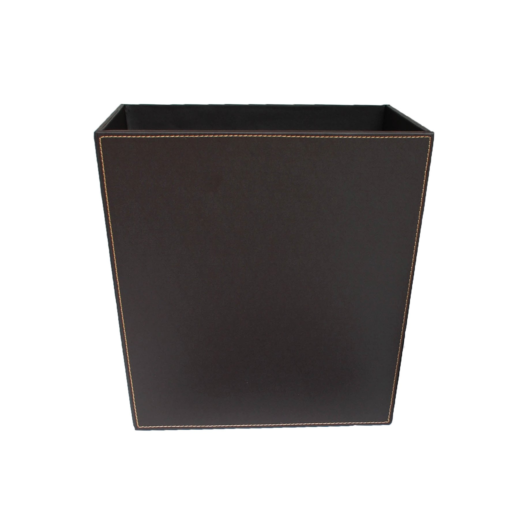 Kraftware Stitched Chocolate Waste Basket with Plastic Liner, Waste Basket, Bathroom Hotel, Hospitality, Décor, Office Trash Can, MADE IN U.S.A.