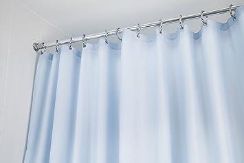 Croydex Plain Light Blue Water Resistant Machine Washable Cling Textile Shower Curtain