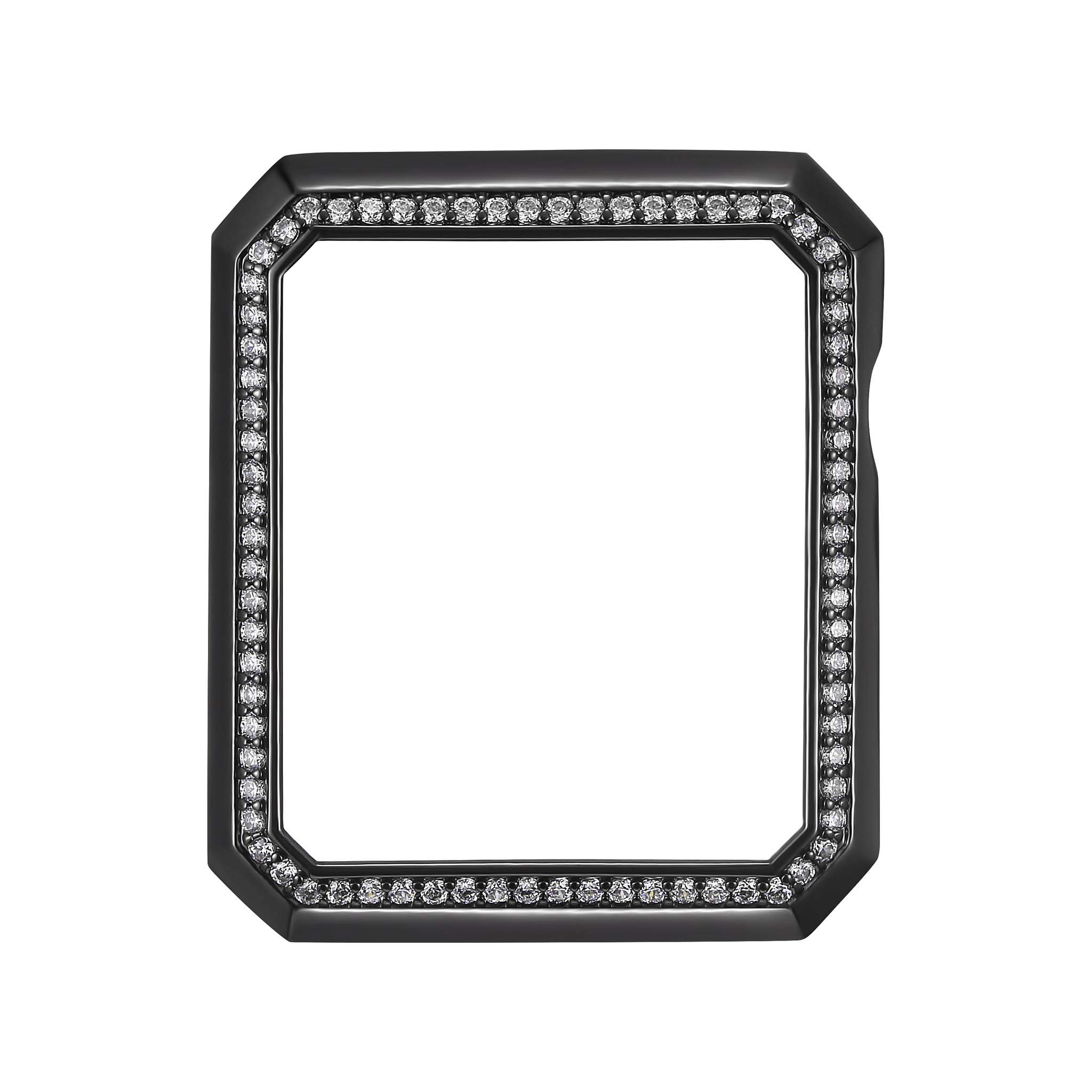 Black Rhodium Plated Bronze Deco Halo Jewelry-Style Apple Watch Case with Swarovski Zirconia CZ Border - Small (Fits 38mm iWatch)
