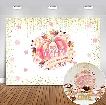 Zhy 7X5FT Our Little Pumpkin Girl Happy 1st Birthday Backdrop Pink Watercolor Flowers Golden Word Photography Backdrop for Kids Birthday Party Decor Banner Baby Shower Studio