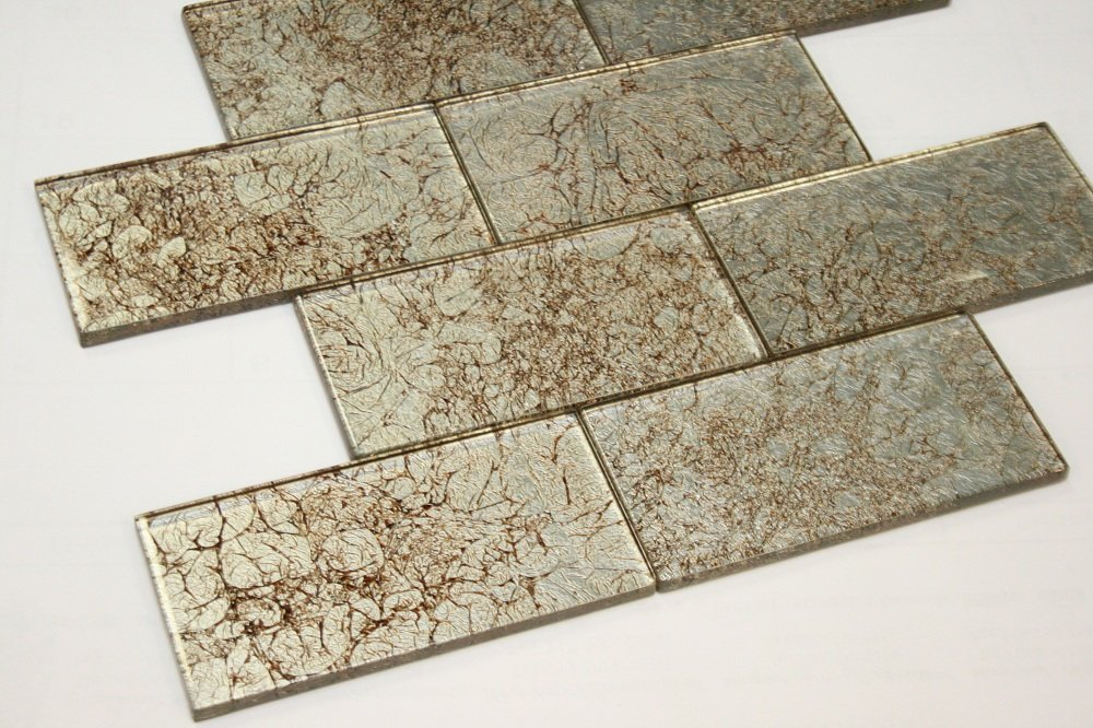 Heirloom Gold - Galaxy Series 3 x 6 Light Gold Color Glass Tile by Marble 'n things