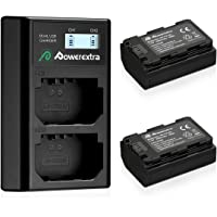 [Prime Day]Powerextra 2 Pack Replacement Sony NP-FZ100 Battery 2500mAh and Smart Dual Charger LCD Display for Sony A9, A7R III, A7 III Camera (Black)