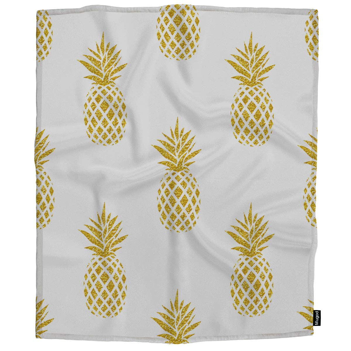 Mugod Pineapple Throw Blanket Seamless Summer Gold Pineapple on White Decorative Soft Warm Cozy Flannel Plush Throws Blankets for Baby Toddler Dog Cat 30 X 40 Inch