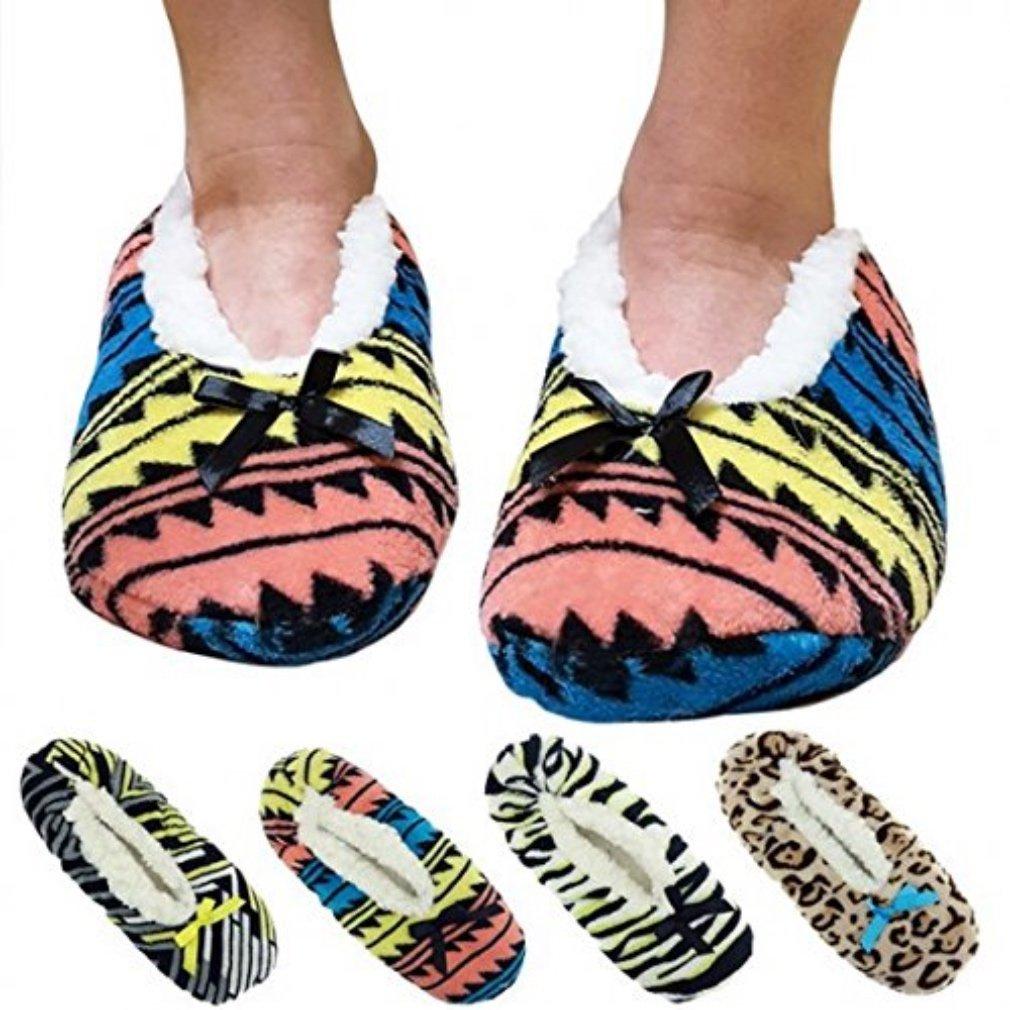 LuckyBEBE Ladies Fashion SocksPlush Slipper Socks with Non-Skid Bottoms-Tribal Design