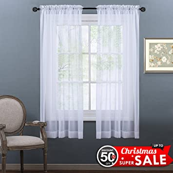NICETOWN Sheer Curtains 63 Long   Rod Pocket Lightweight Sheer Voile Panel  Window And Door Curtains