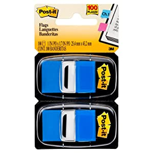 Post-it Standard Page Flags in Dispenser1in Wide, Blue 100 Flags, 680-BE2