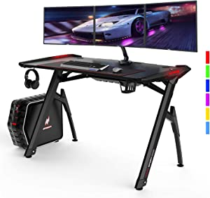 """AuAg 47"""" Gaming Style Desk Computer Home Office Desk Student Table PC Desk with Cup Holder & Headphone Hook Powerful Cabling Management PC Desk with Colorful RGB Lights"""