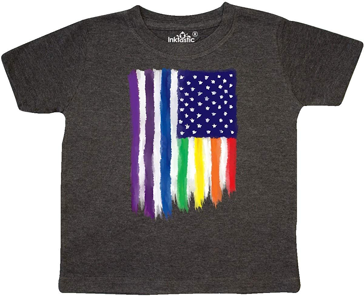 inktastic Painted American Rainbow Toddler T-Shirt 2T Retro Heather Smoke 3651e