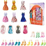 Avando 20PCS Doll Accessories, 10x Mix Cute Dresses 10x Shoes Dresses Gown with Shoes Outfit Set for Xmas Birthday Gift…