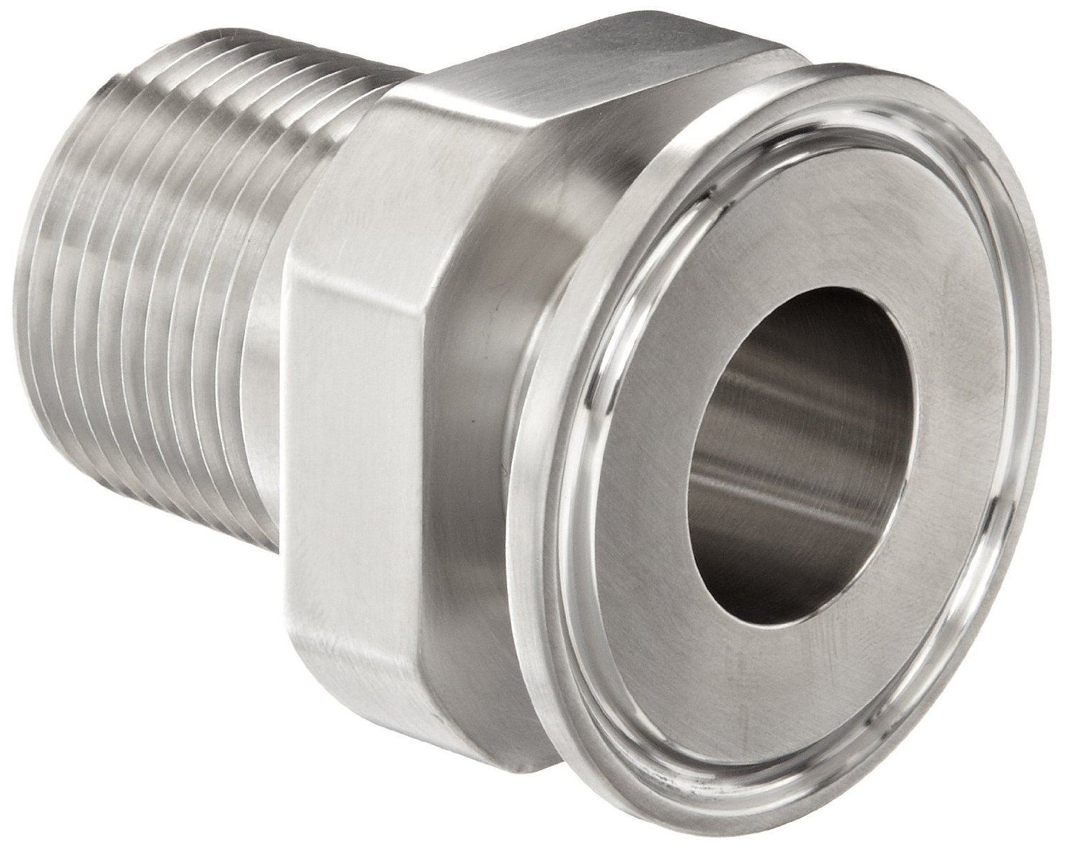 Dixon 21MP-R100 Stainless Steel 304 Sanitary Fitting, Clamp Adapter, 1'' Tube OD x 1'' NPT Male