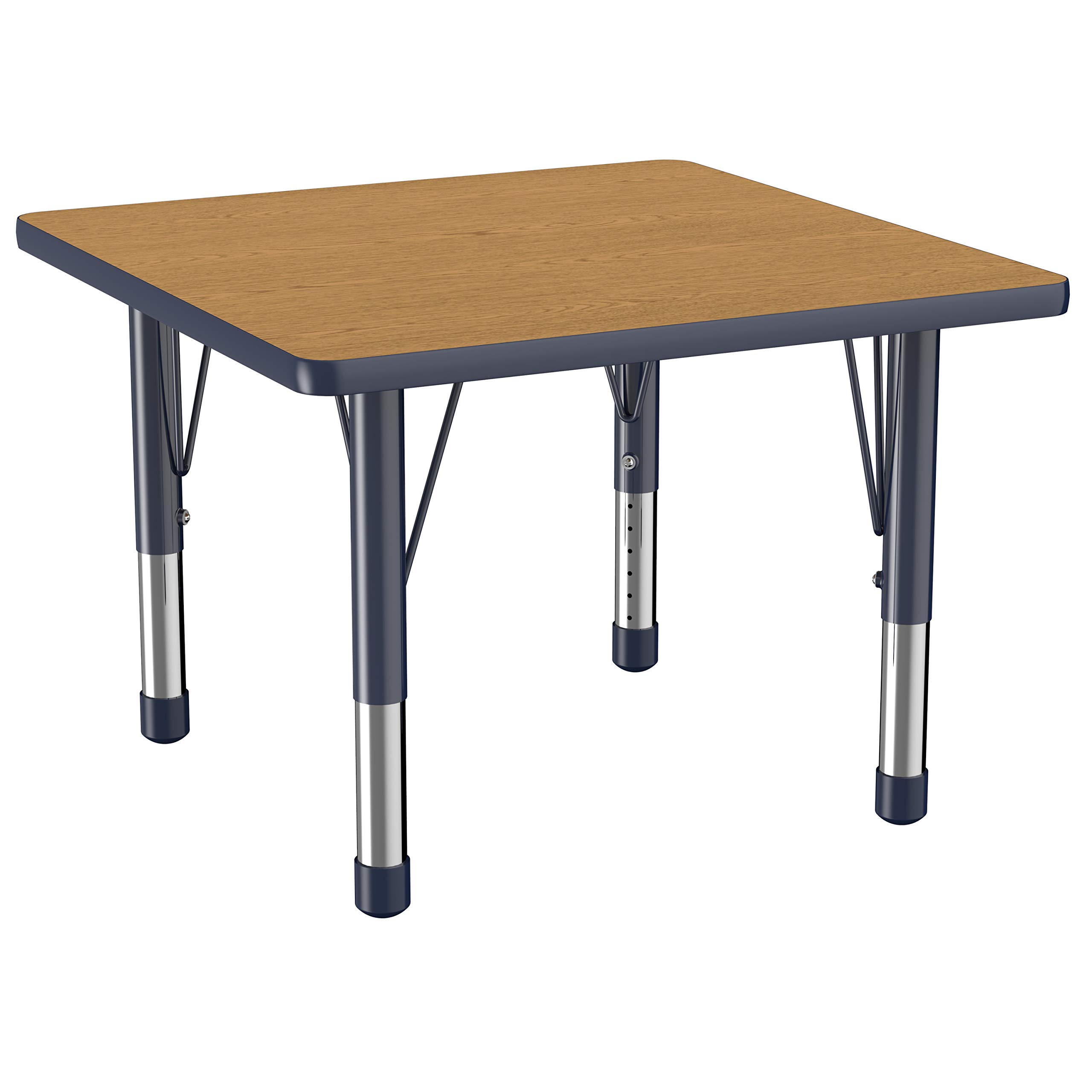 FDP Square Activity School and Classroom Kids Table (30 x 30 inch), Toddler Legs, Adjustable Height 15-24 inches - Oak Top and Navy Edge by Factory Direct Partners