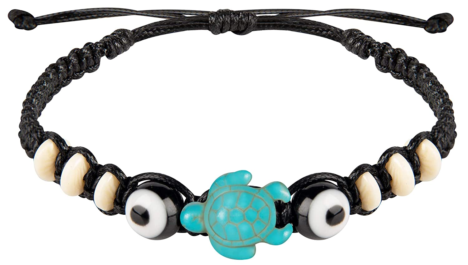 Sun Life Style Save The Turtle Bracelet and Anklet - Sea Turtle Jewelry for Summer with Adjustable Fit