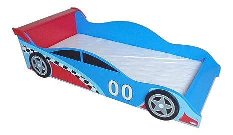 Kiddi Style Autobett & Rennwagenbett in Blau / Rot – Kinderbett & Spielbett für Jungen – Jugendbett & Rennautobett – 140 cm x