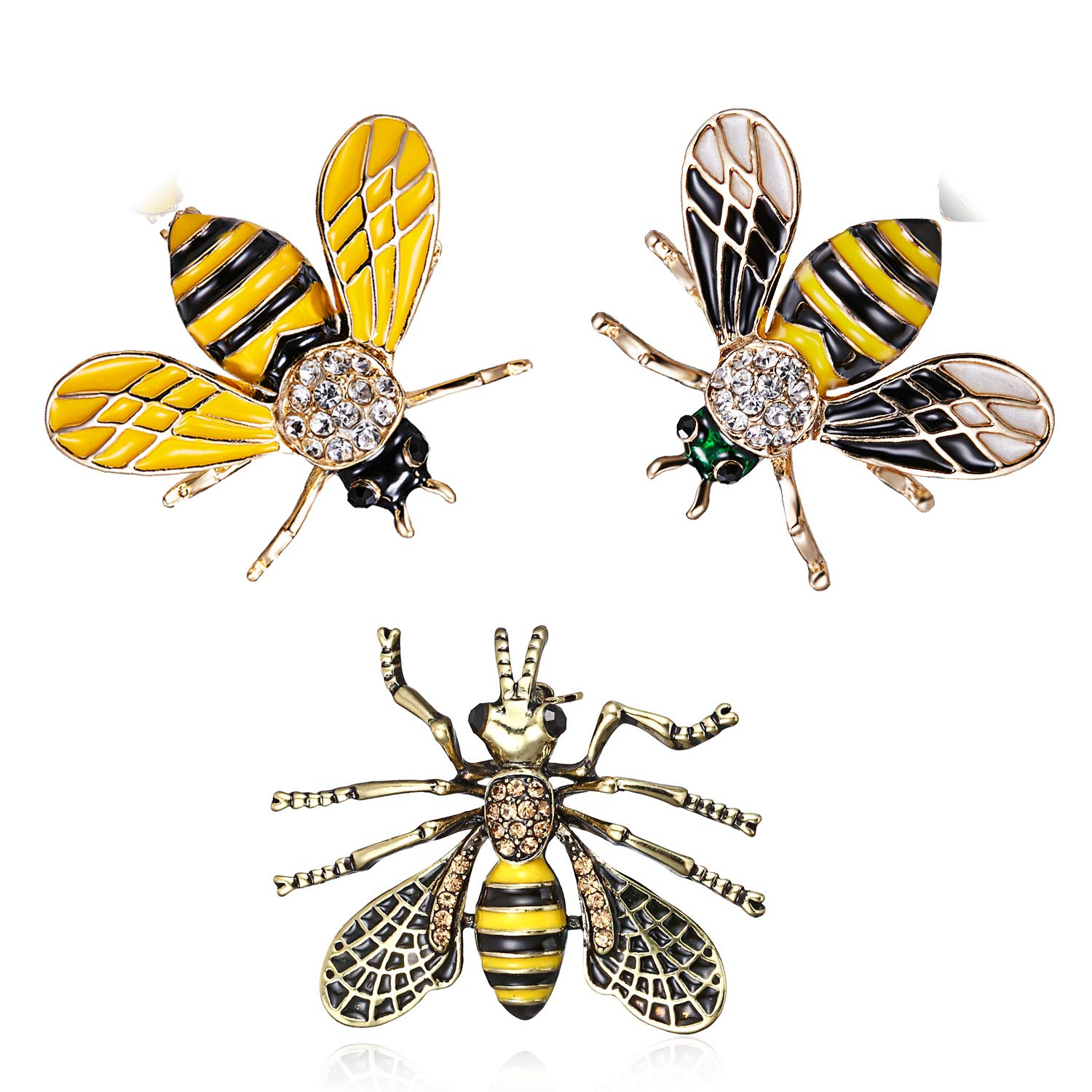 3Pcs Cute Honeybee Enamel Brooches Pin Antique Crystal Rhinestones Bee Scarf Clips for Women Girls (Style2)