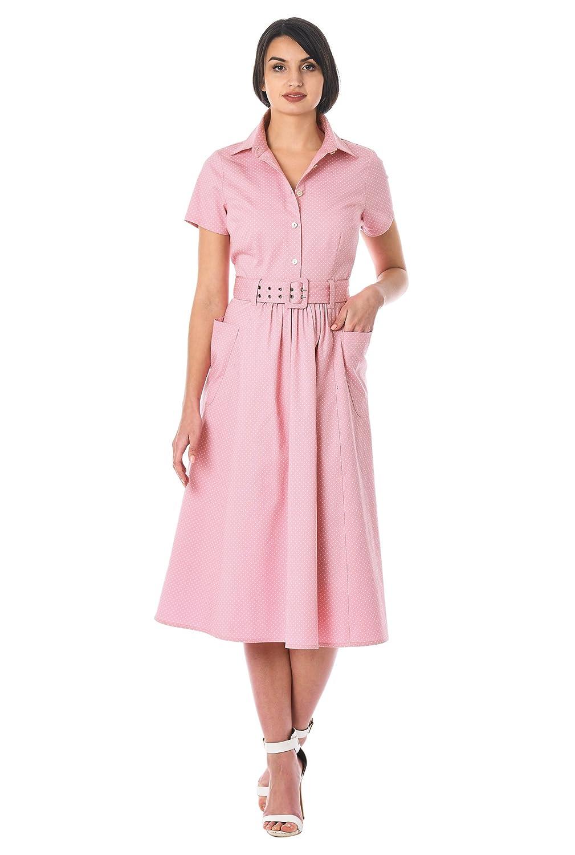 1940s & 1950s Style Shirt Dresses, Shirtwaist Dresses eShakti Womens Polka Dot Cotton Twill Belted shirtdress $54.95 AT vintagedancer.com