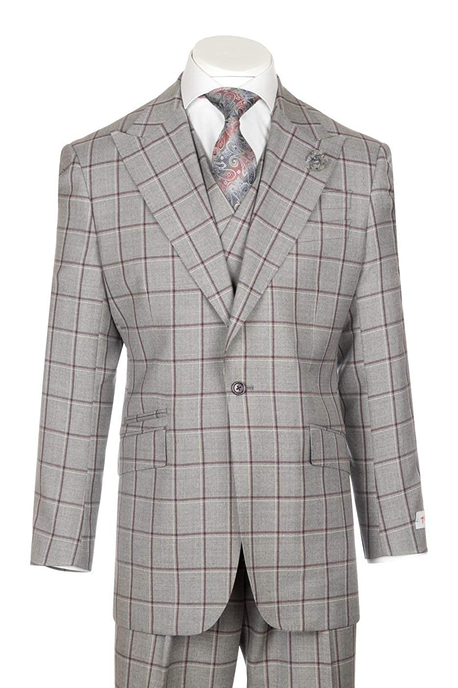 Men's Vintage Style Suits, Classic Suits Tiglio New Rosso Light Gray with Burgundy and White Windowpane Wide Leg Pure Wool Suit & Vest Rosso CG8802F/511/4 $399.00 AT vintagedancer.com