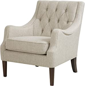 Madison Park Qwen Accent Chairs - Hardwood, Birch, Faux Linen Living Room Chairs - Cream Ivory, Vintage Classic Style Living Room Sofa Furniture - 1 Piece Diamond Tufted Bedroom Chairs Seats