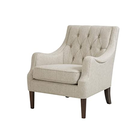 Madison Park Qwen Accent Chairs - Hardwood, Birch, Faux Linen Living Room Chairs - Cream Ivory, Vintage Classic Style Living Room Sofa Furniture - 1 ...