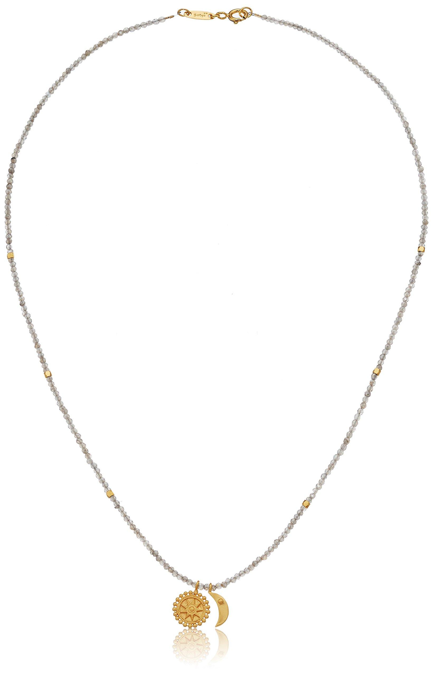 Satya Jewelry Celestial Goddess Mystic Labradorite Gold Mandala Moon Strand Necklace, 18-Inch, Grey