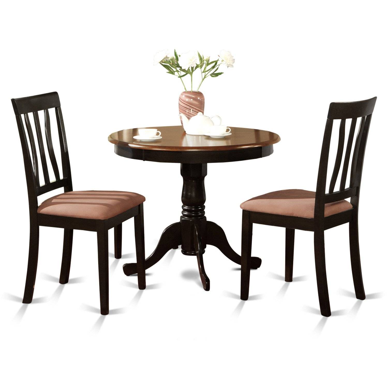 East West Furniture ANTI3-BLK-C 3-Piece Kitchen Table Set, Black/Cherry Finish by East West Furniture