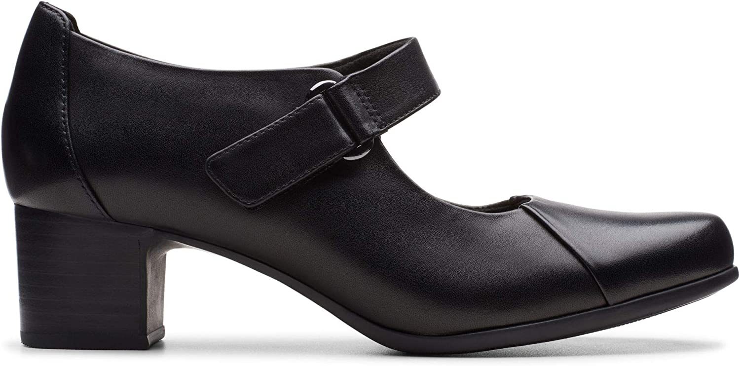 Clarks Un Damson Vibe Leather Shoes in Black Wide Fit Size 7/½