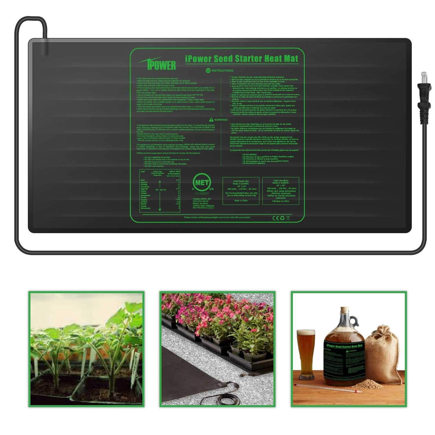 "iPower Durable Waterproof Seedling Heat Mat 48"" x 20"" Warm Hydroponic Heating Pad MET Standard"