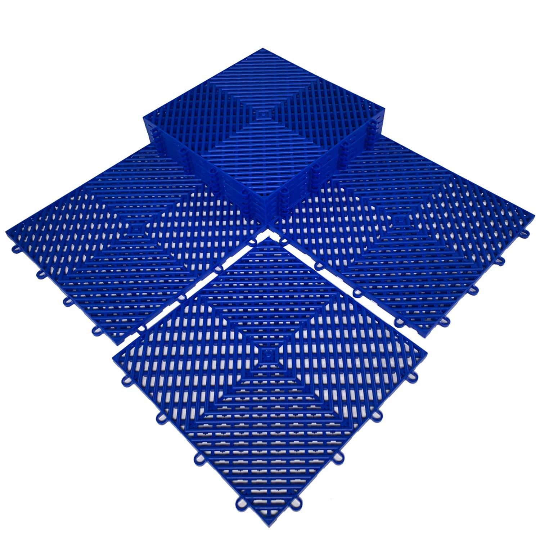 HYSA MAT Interlocking Garage Tiles,12.5 x 12.5 inch PP Non-Slip Flooring Deck Drainage Mats for Basement Swimming Pool Bathroom Boat Wet-Area,Blue,9-Pack