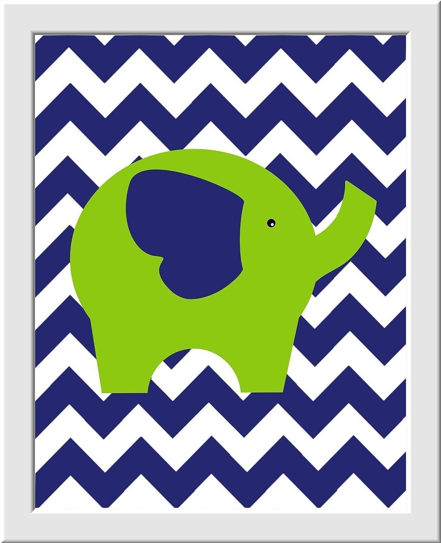 Elephant Boy Nursery Art Navy Green Boy Room Wall Decor Dream Big Little One Personalize Name Art Elephant Nursery Decor Baby Nursery Prints SET OF 4 UNFRAMED PRINTS