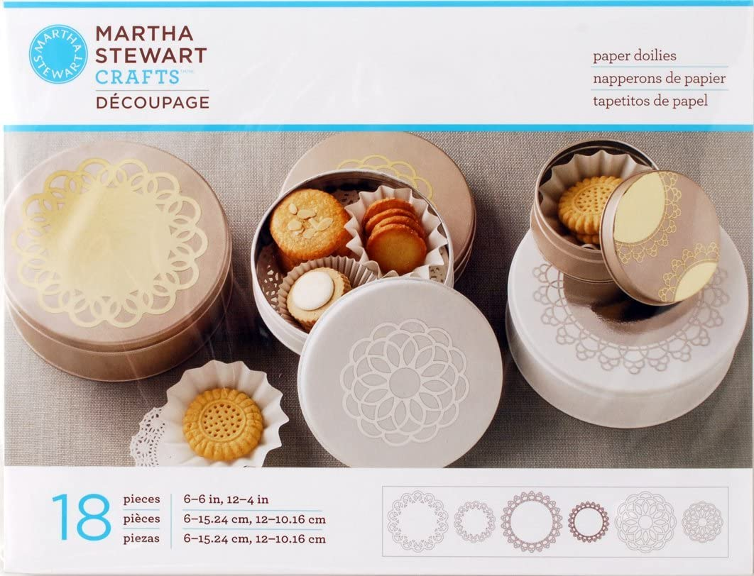 Metallic Martha Stewart Crafts Decoupage Paper Doilies 18-Piece