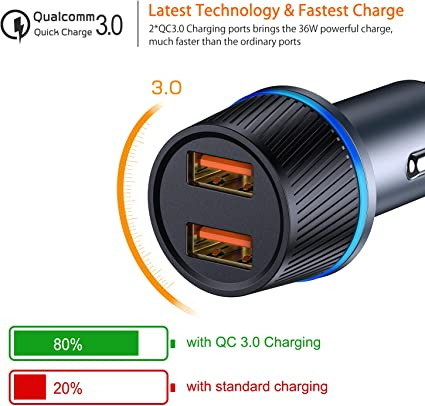 VANMASS Quick Charge QC 3.0 36W Dual Car Charger, Aluminum USB Ports Lighting Charging Adapter for iPhone 11 11Pro XsXs MaxXRX8 Plus, Samsung