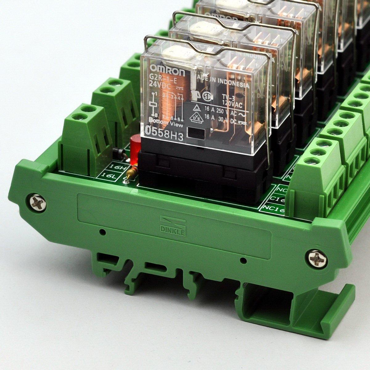 ELECTRONICS-SALON DIN Rail Mount 2 SPDT 16A Power Relay Interface Module,G2R-1-E DC24V Relay