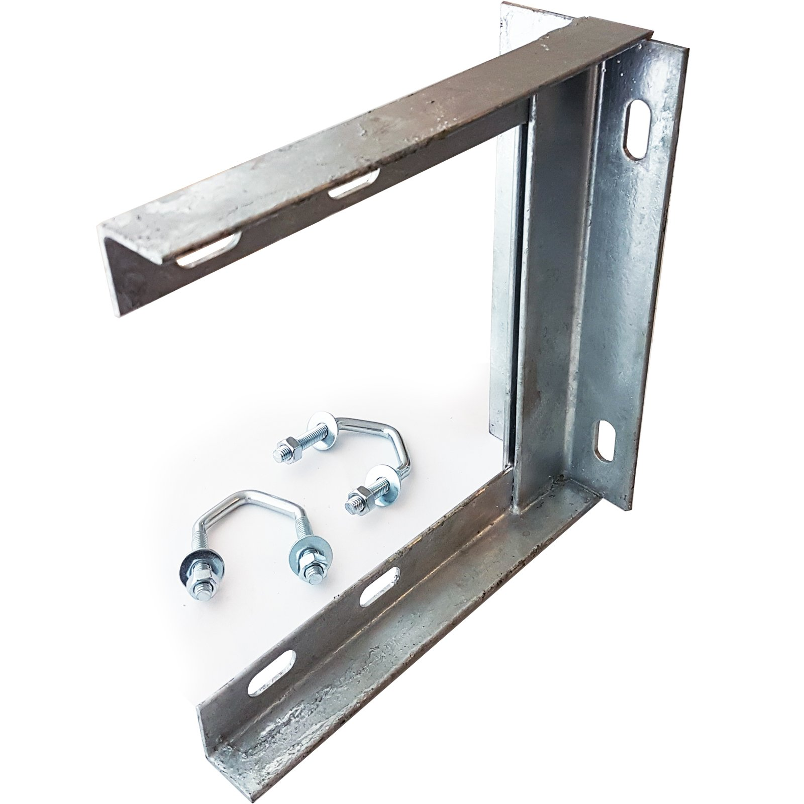 """Loops 9"""" x 9"""" Heavy Duty Steel TV Aerial Wall/Brick Mounting Bracket & V Bolts Galvanized - Pole/Mast/Clamp Install For Outdoor & Indoor Use"""