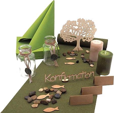 ZauberDeko mágica Decorar Mesas Comunión Confirmación Verde Oliva Madera Set 20 Personas: Amazon.es: Juguetes y juegos