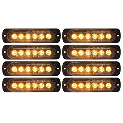 DIBMS LED Strobe Warning Lights, 8x Amber Yellow LED Strobe Warning Emergency Flashing Light Caution Construction Hazard Light Bar For Car Truck Van Off Road Vehicle ATV SUV Surface Mount: Automotive