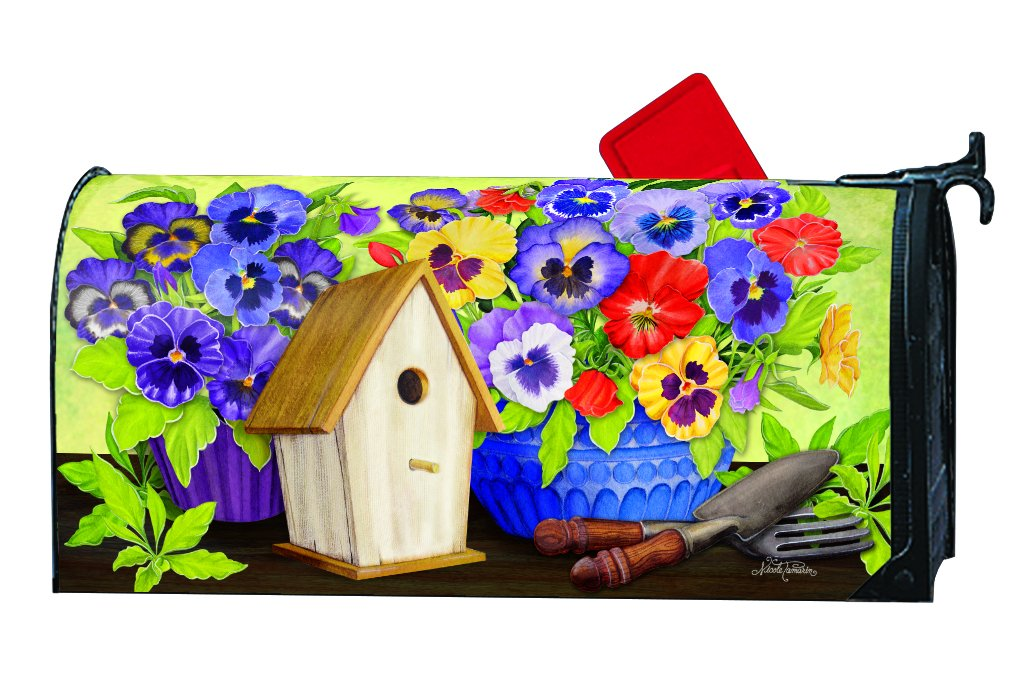 Pretty Pansy and Birdhouse LARGE MailWraps Magnetic Mailbox Cover #21661