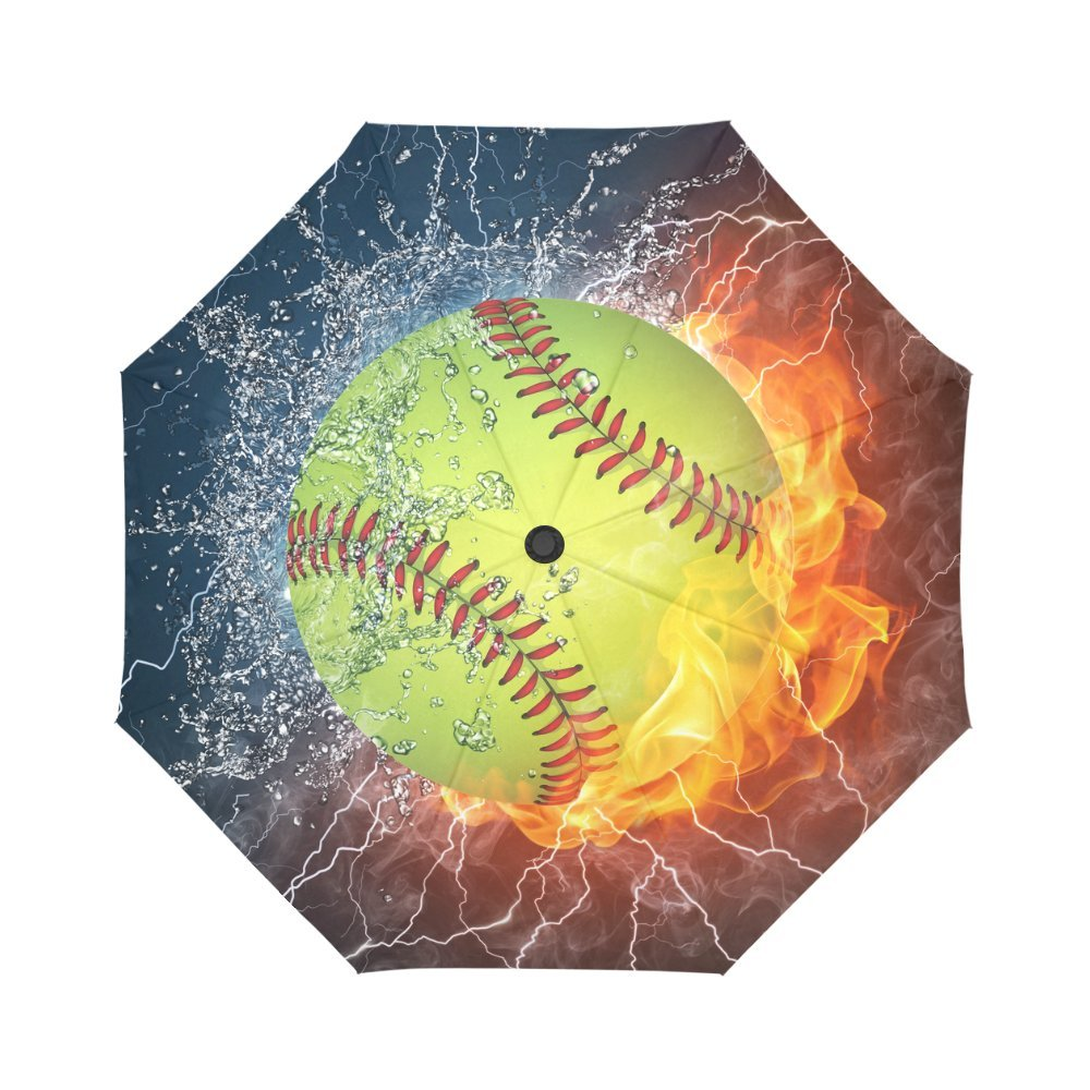 InterestPrint Softball In Fire and Water Windproof Automatic Open And Close Folding Umbrella,Vintage Sports Travel Lightweight Outdoor Umbrella Rain And Sun