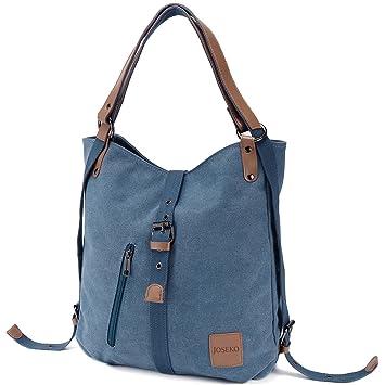 Modestil erstaunliche Qualität schöner Stil JOSEKO Canvas Tasche, Damen Rucksack Handtasche Vintage Umhängentasche Anti  Diebstahl Hobotasche für Alltag Büro Schule Ausflug Einkauf Blau