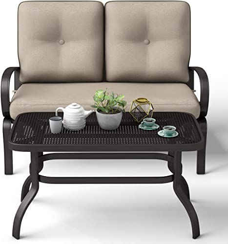 Casart Modern Loveseat and Coffee Table Set