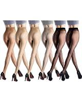 オールスルー ストッキング 15デニール 薄い 着圧 まとめ マチ付き 6足組 (黒 肌 グレー ブラウン 全4色 )
