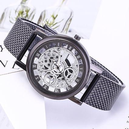 Malloom Correa de plástico Reloj Abierto Hombres de Lujo de Acero Inoxidable de Cuarzo Deporte Militar