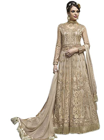 24d99b21d5d9a Shoppingover Indian Ethnic Pakistani Designer Party wear New Anarkali  Suit-Gold Color: Amazon.co.uk: Clothing