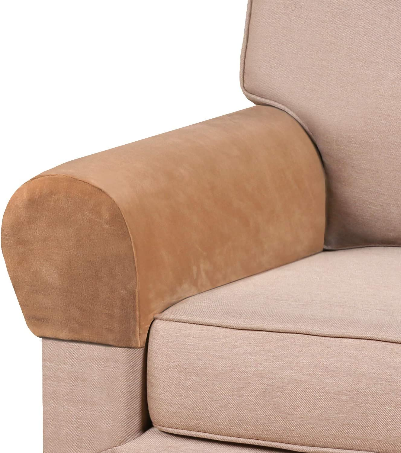 PrinceDeco Thick Velvet Stretch Armrest Covers for Chairs and Sofas Armchair Covers for Arms Couch Arm Covers Armrest Covers for Sofa Non Slip (4 Pack: Camel)