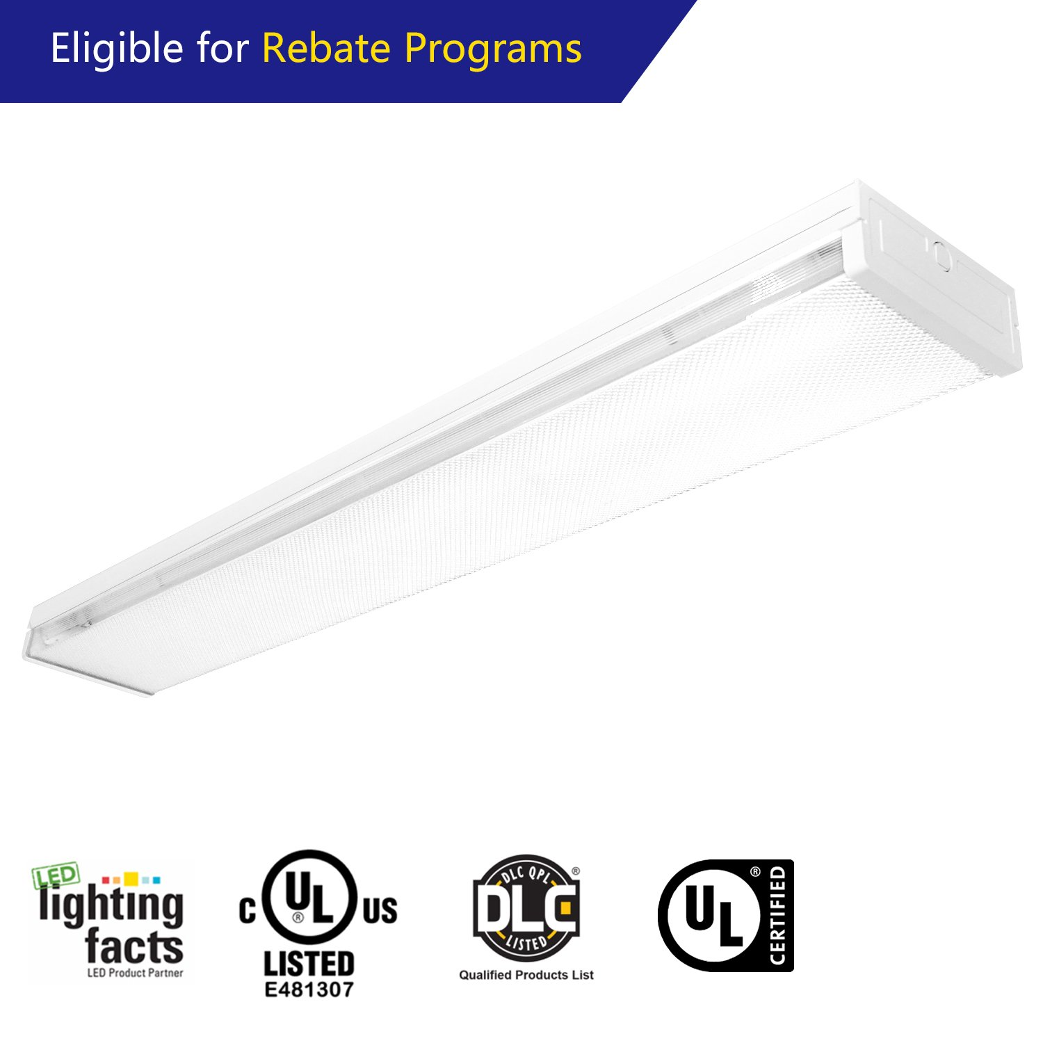 EVE 4ft 42W LED Wraparound Flush Mount Commercial Office Ceiling Lamp,Frost Cover Dimmable driver,5460lm Daylight 5000K for Garage Shop,Laundry Rooms, Hallways, Offices(Eligible for Rebate Programs)