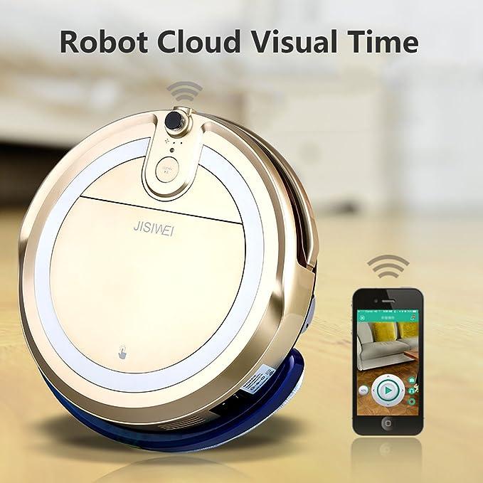 JISIWEI I3 - Robot aspiradora con HD cámara incorporada , APP control remoto (Dorado): Amazon.es: Hogar