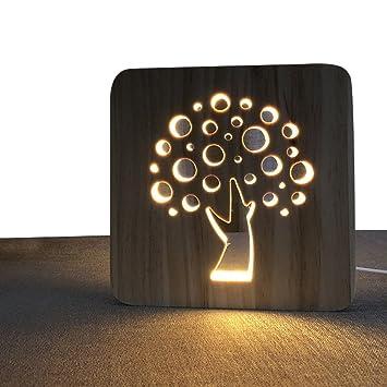 Amazon.com: Árbol de la vida hueca de madera lámpara de ...