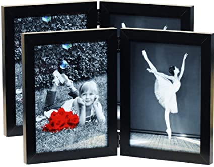 Amazoncom 2 Pack 5x7 Inch Hinged Dual Picture Wood Photo Frames