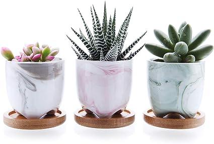 2X Resin Flower Pot Succulent Plant Baskets Box Flowerpot For Home Office Decor